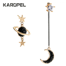 New Asymmetrical Irregular Star Moon Zircon Earrings Fashion Korean Style Tassel For Women