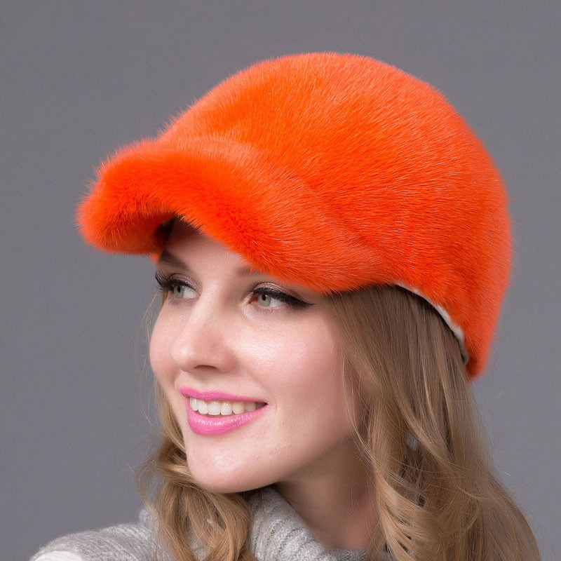 Mink Fur Hat Women's Natural Suede Fur Hat Luxury Fur Cap 2016 Promotional Fashion Women's Hat Orange Fur Cap DHY-56