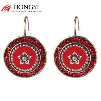 Pendientes esmaltados rojos de estilo Vintage con estrás rojo, pendientes étnicos clásicos con broche para mujer, bisutería para hacer una declaración