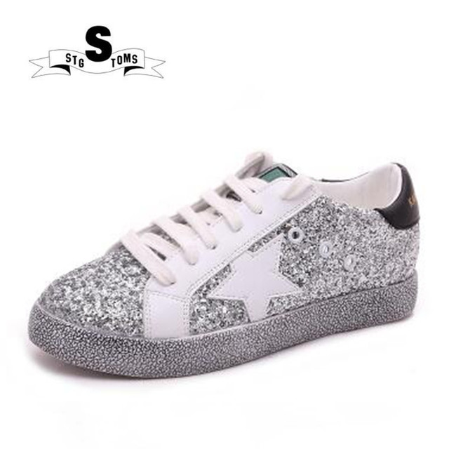 Women skateboarding Shoes Glitter Pu Leather Do Old Dirty Sneakers 2018  Golden Zapatillas Designer Trainers Star Shoes Woman 154 f586bc6e0