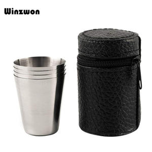 Shot Drinking-Glasses Glass-Cup Wine Stainless-Steel Mini Home 30ML with Cover-Bag