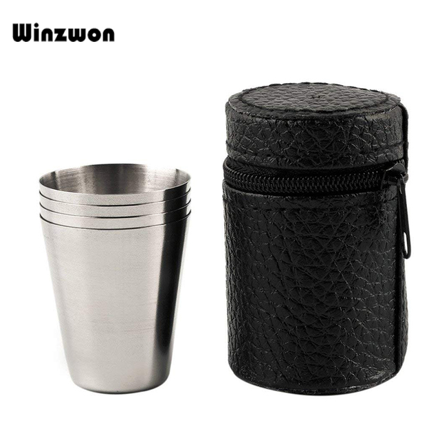 4Pcs/set Polished 30ML Mini Stainless Steel Shot Glass	Cup Wine Drinking Glasses With Leather Cover Bag For Home Kitchen Bar