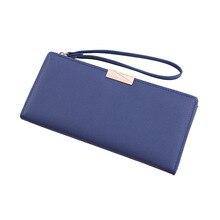 2019 New Hasp Women Long Clutch wallet PU Leather Zipper Female Purse Card Holder Two Fold Wristlet Band