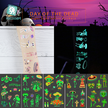 Mexico Day of The dead Luminous Tattoo Sticker ghost Skull Parade Party Fake Tatoo Shine in the dark Waterproof Temporary Tattoo day of the dead girl skull head vinyl wall decal sticker