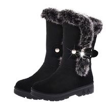 Hot sale winter women snow boots warm round toe comfortable boots female fur plush high quality botas wholesale DVT630