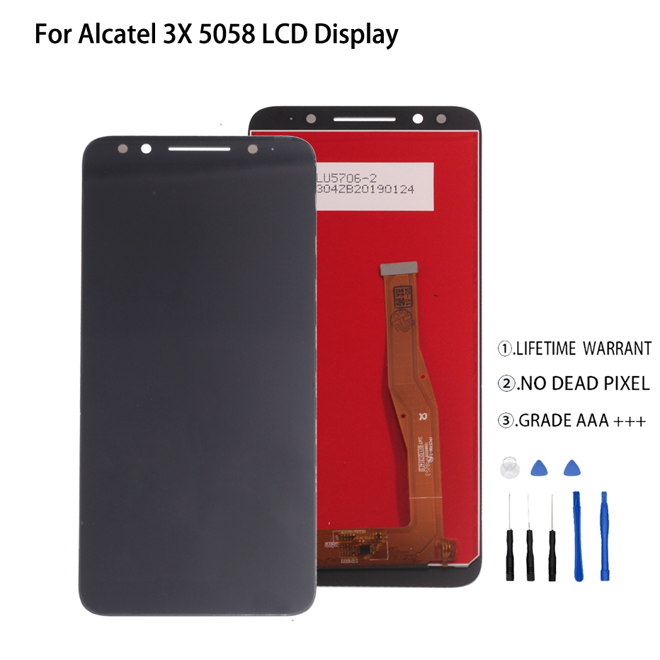 For Alcatel 3X 5058i 5058y 5058 LCD Display Touch Screen Digitizer For Alcatel 3X 5058 Display Screen LCD Phone Parts