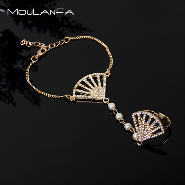 MOULANFA NEW bridal jewelry fan-shaped hand chains with finger ring for lady high quality gold  wedding handbracelet jewelry
