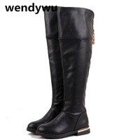 Wendywu Otoño Invierno muslo botas altas para las niñas negro botas marca botas blancas niños pu zapatos de cuero