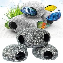 Funny Ceramic Rock Cave Stone Decoration For Fish Tank Benefical Accessories for Cichlidss Existence aquarium