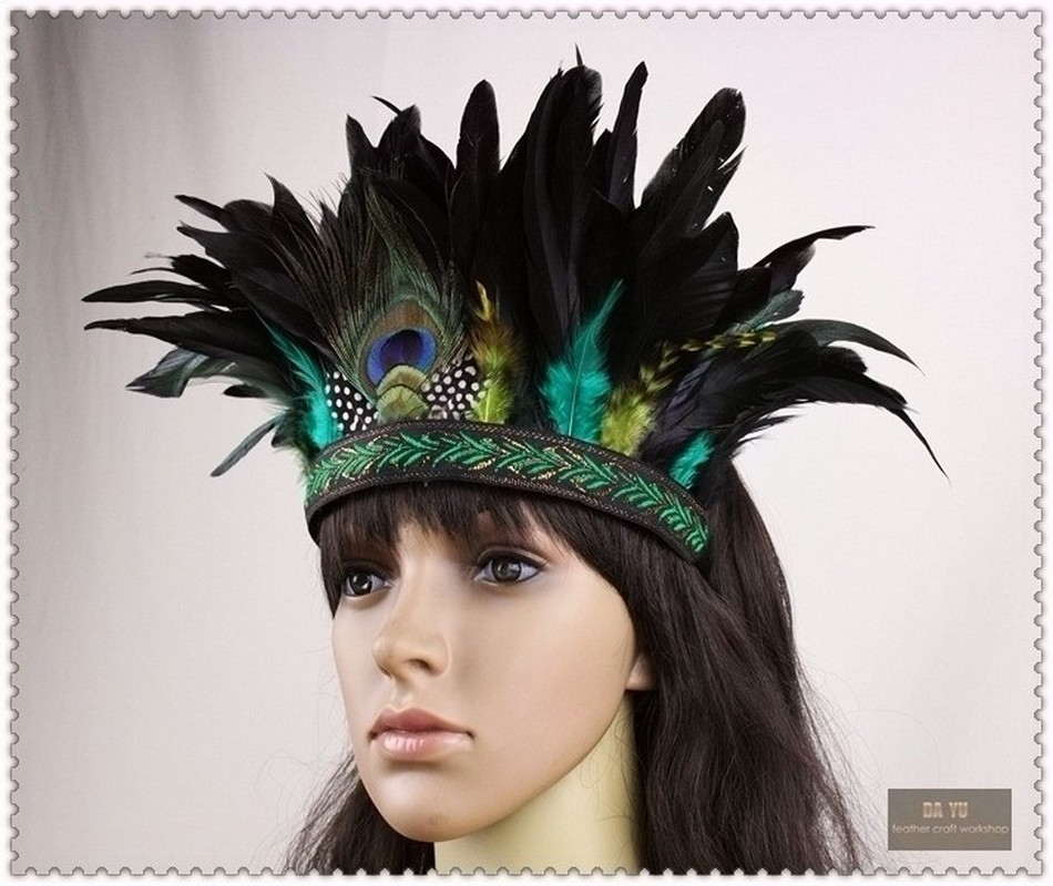 High Quality Indian Peacock Feathers Headwear Stage Performance National Hairband European & American Style for Adults and Kids