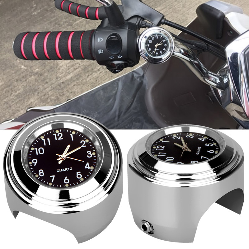 Motorcycle Handlebar Mount Quartz Clock Waterproof 7/8 1 Chrome Watch for Harley Davidson Honda Yamaha Suzuki Kawasaki 1pcs universal motorcycle handlebar cup holder chrome metal drink for honda kawasaki harley davidson tour dyna sportster fat bob