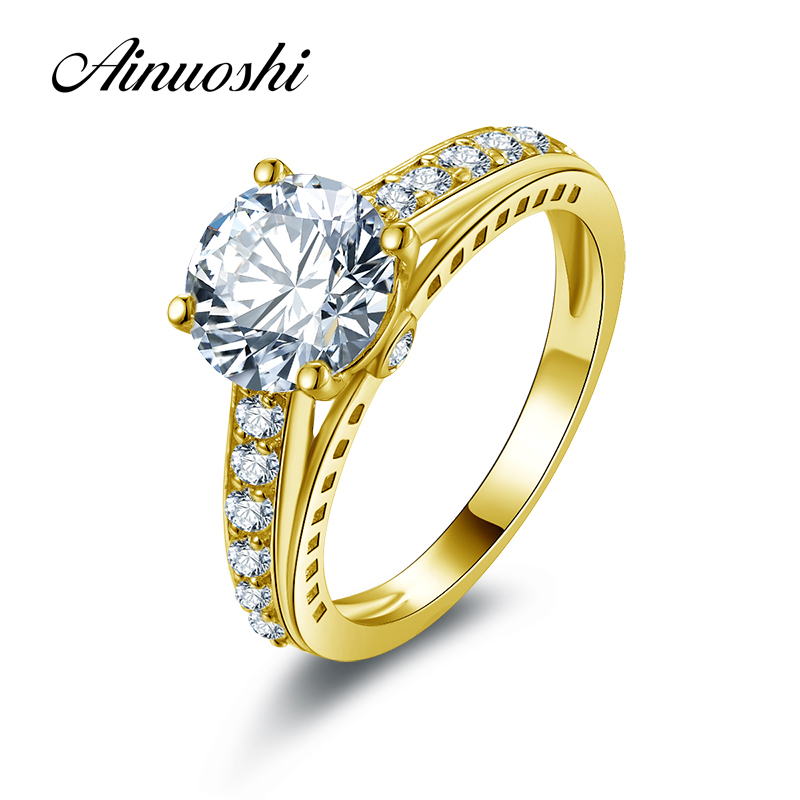 все цены на AINUOSHI 10k Solid Yellow Gold Wedding Rings 2 ct Lovers Promise Band Round Simulated Diamond Women Engagement Anniversary Ring онлайн