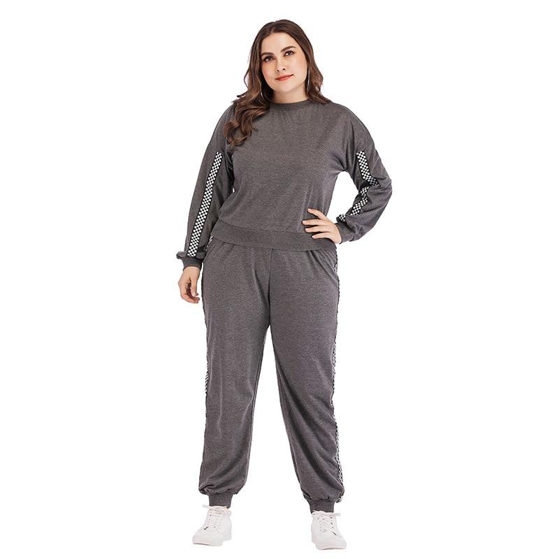 Autumn Plus Size 2 Pieces Sets Woman Long Sleeve Tops+Long Trousers Set Casual 2 Pcs Sports Suit 4XL Large Size Woman Sportswear