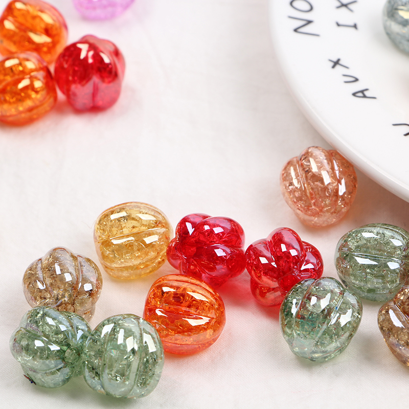 20 PCS/LOT Fashion DIY Big Hole Pumpkin Beads Striped Crack Handmade Head Rope For Beads Jewelry Making Beads Accessories