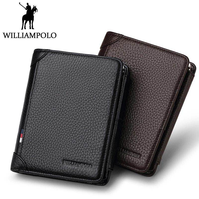 WILLIAMPOLO Famous Brand Trifold Wallet Men Short Purse Card Holder Coin Pocket Zipper Pouch Small Genuine