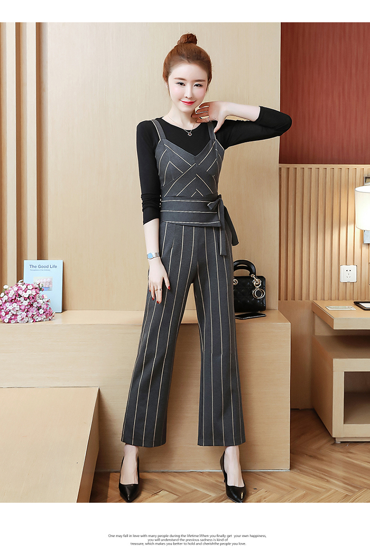 YICIYA Women outfits tracksuit sportswear Striped top and bib pants suits 2 piece set co-ord set OL Office 2019 bodycon clothing 19