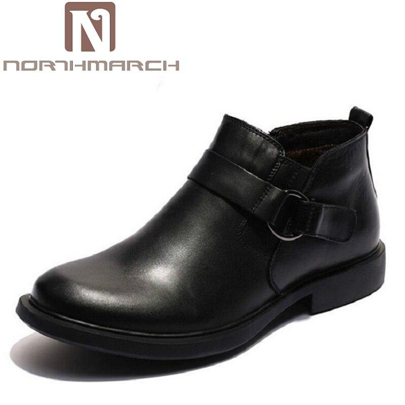 NORTHMARCH Brand Russian Style Genuine Leather Men Winter Shoes Shoes Business Plus Velvet Men's Dress Boots Schoenen Mannen