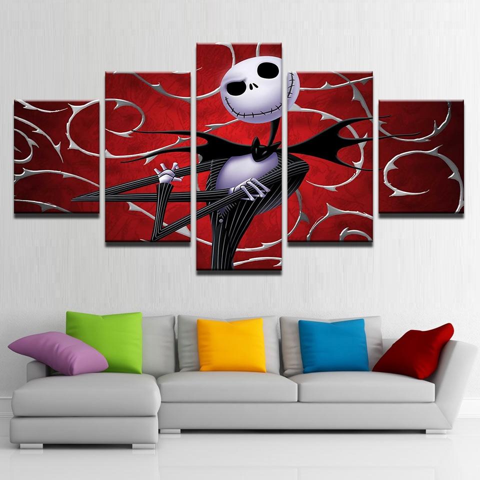 Canvas Prints Wall Art Pictures 5 Pieces Hallowmas Jack Skellington Paintings Home Decor