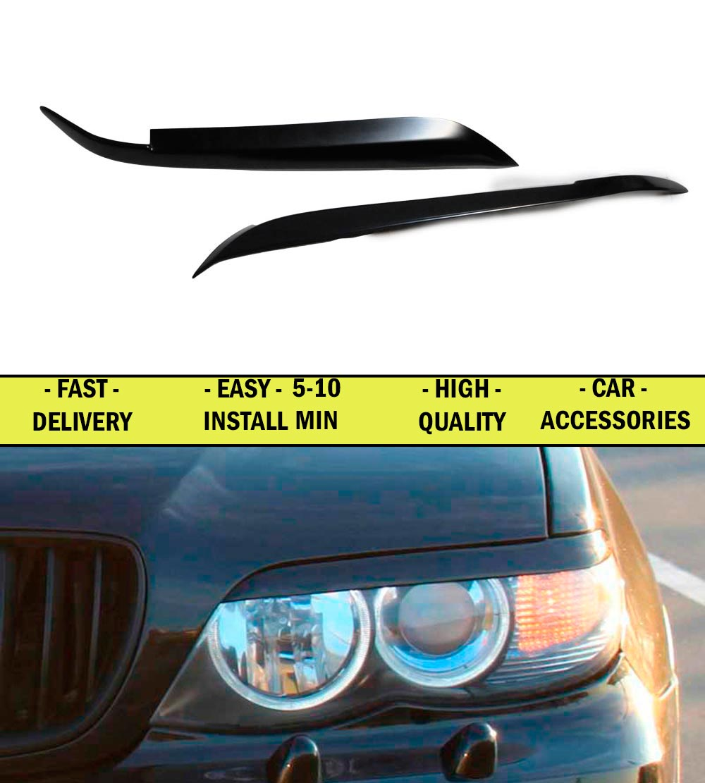 Cilia eyebrows case for BMW X5 E53 2003 2004 2005 2006 ABS plastic moldings lights font