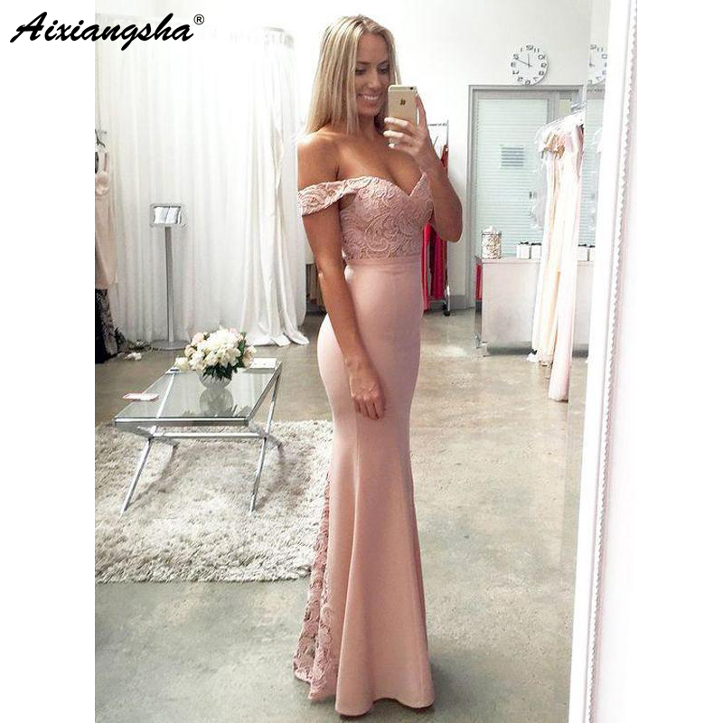 Off Shoulder Sweetheart Blush Pink Mermaid Evening   Prom     Dresses   Simple Long Lace Party   Prom   Gown vestido de fiesta