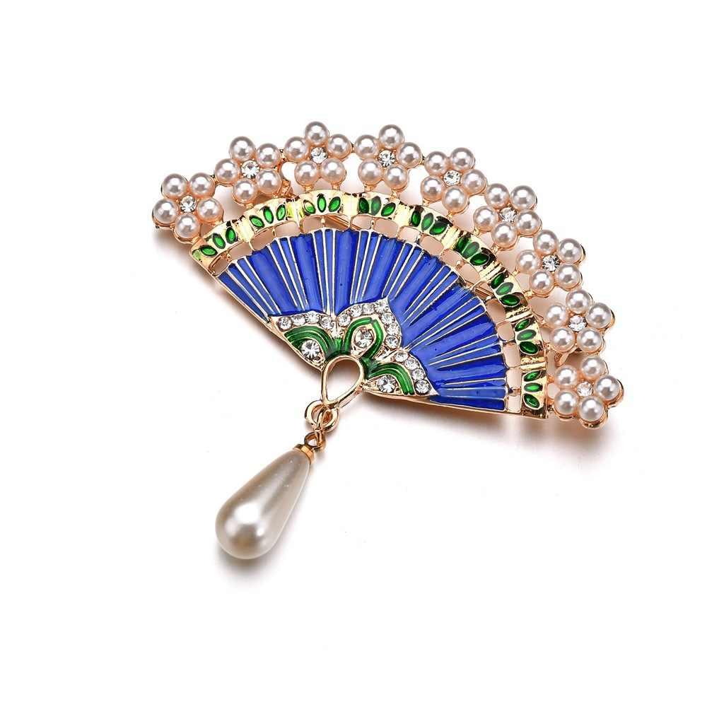 Kualitas tinggi 2018 New Fashion Enamel Ekor Merak Bros Wanita hadiah Imitasi Mutiara Bros Antik Pin Badge drop pengiriman
