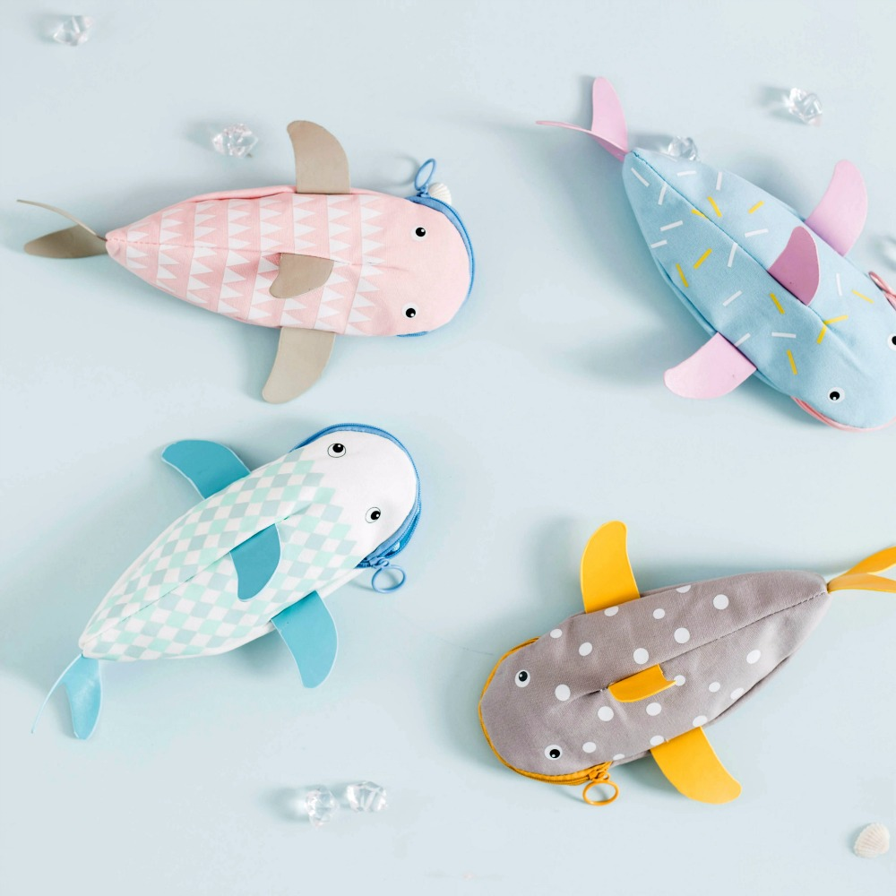 Creative shark pencil bag  fish pencil case school stationery office supplies cute mini s size pencil bag pencil case pen stationery storage art school office home supplies transparent pens holder fashion gifts
