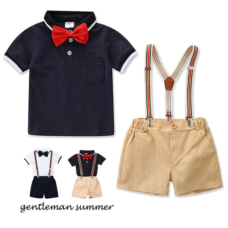 Kids Boys Bow Clothes Sets Baby Gentleman High Qulity Short T shirt + overall Pants Toddler Boy Clothing Casual Kids Outfits