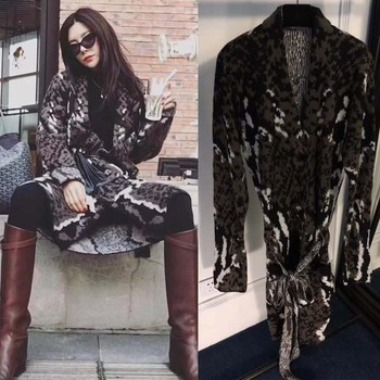 2018 invierno el nuevo silm de mujer rebelde cardigan vadim moda leopardo jacquard suéter tejido streetwwar glamour mujer top femme