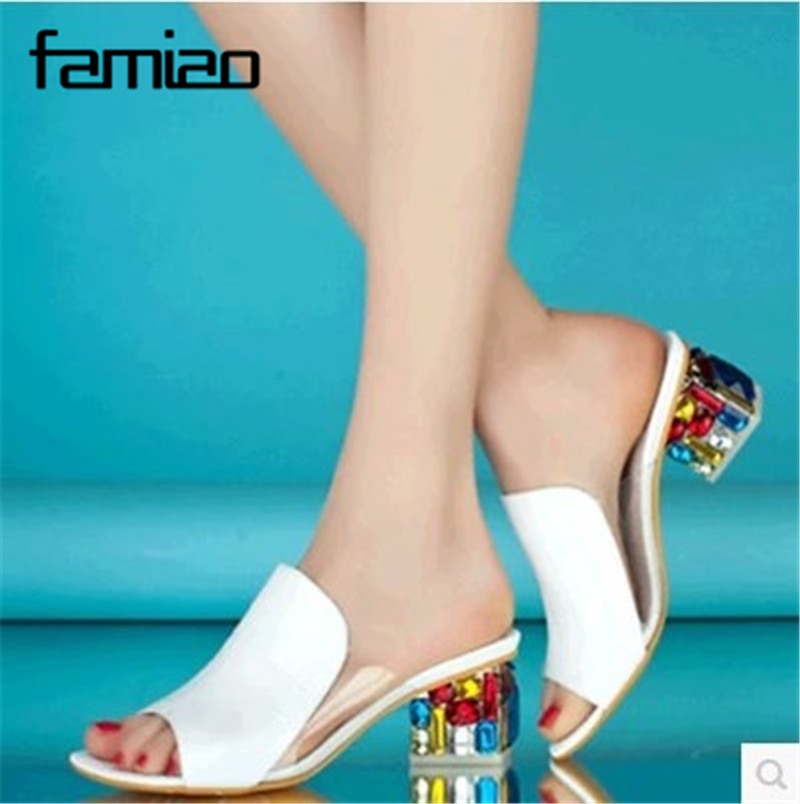 цены 2018 New Fashion Casual Wedge Women Slippers Shoes Fish Head Thick Big Yard Plus Size Roman Shoes Summer Pumps White Purple 41