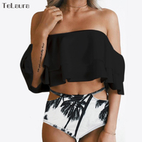 2017 Sexy High Waist Swimsuit Women Ruffle Bikini Off Shoulder Bikinis Women Swimwear Plus Size Biquini