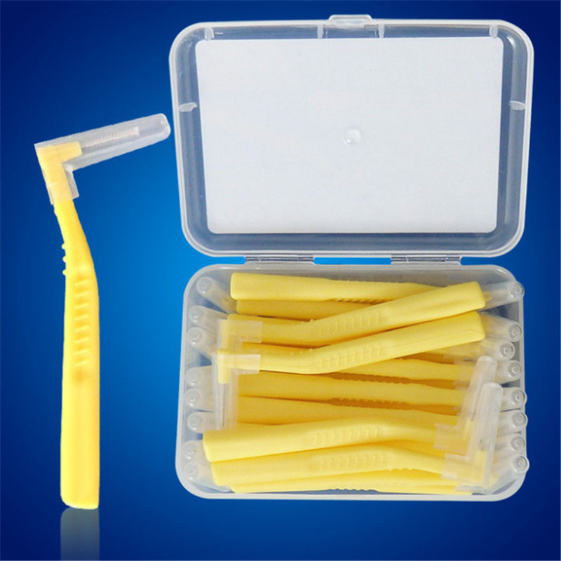 60Pcs L Shaped Interdental Brush 0.6 MM Denta Floss Interdental Cleaners Orthodontic Wire Brush Toothbrush Oral Care Toothpick