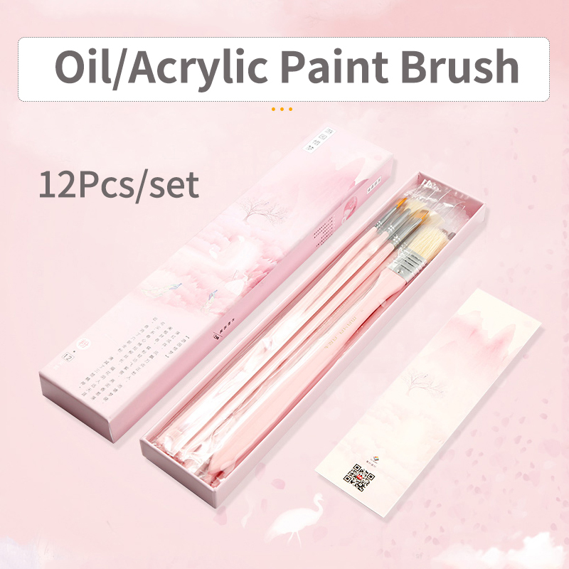 BGLN 12Pcs/set Gouache Oil Painting Brush Set With Paper Box Pink/Black/Blue/Green Artist Oil Acrylic Paint Brush Art Supplies bgln 12pcs set bristle hair flat oil painting brush mix size solid wood pole artist oil acrylic paint brush art supplies