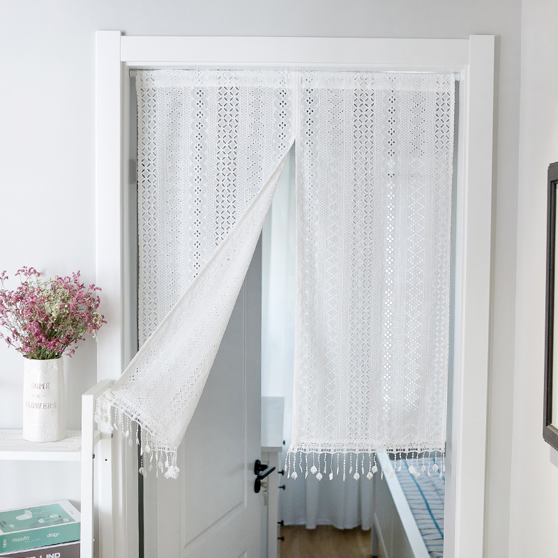 100% Cotton Curtains Door Curtain home decor Cortina Crochet Lace Curtain With tassel White Kitchen Curtain Blinds decorative