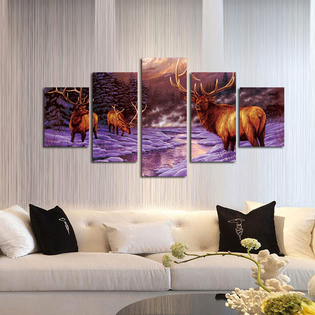 5 Pcs Home Decoration Living Room Canvas Animal Deer Painting Wall Art Picture Modern
