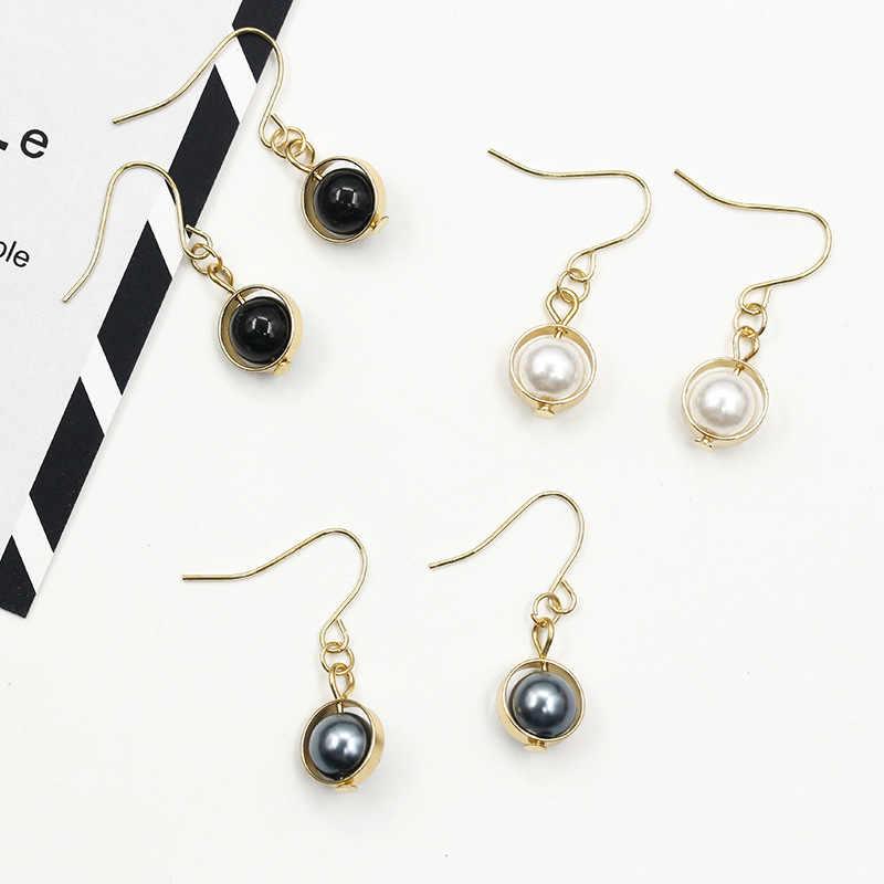 2 các loại Trắng Xám Đen Bead Dài Chuỗi Phụ Nữ Vàng Drop Earrings Dangle Earrings