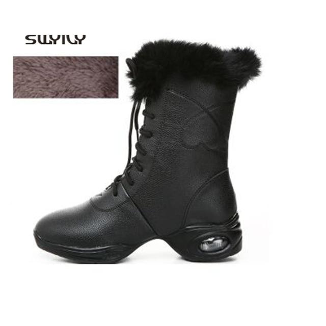 SWYIVY Dance Sneakers Women Multi-styles Soft Heel 2018 New Winter Warm Plus Velvet Women Modern Dance Boots Large Size 42