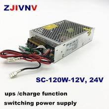 Fonte de alimentação, ups comutação da fonte de alimentação 120w 12v 24v com função de carga ac 110/220v carregador de bateria para dc 12v 24vdc, SC 120W 12V 24v