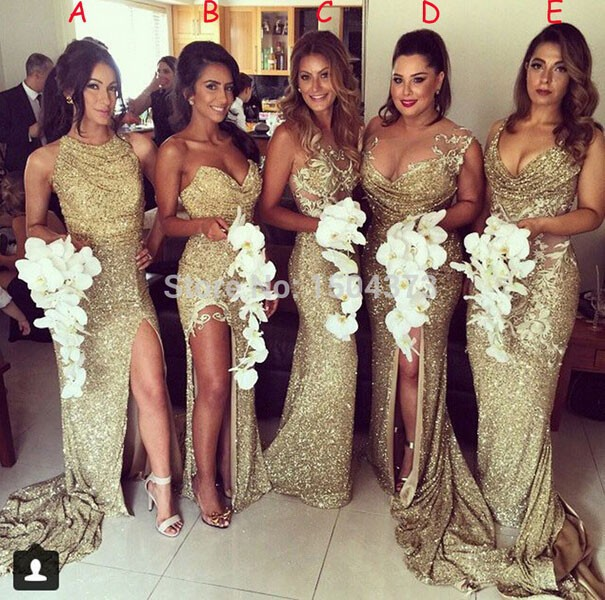 Buy Cheap 2017 Bridesmaid Dresses Long Gold Sequin Bridesmaid Dress Mismatched Bridesmaid Dresses Cheap Wedding Guest Dresses Adult