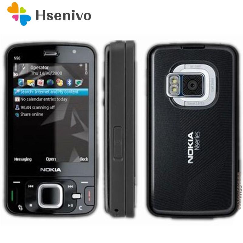 100% débloqué d'origine Nokia N96 téléphone GSM 3G 16 GB mémoire interne WIFI GPS 5MP, 1 an de garantie remis à neuf