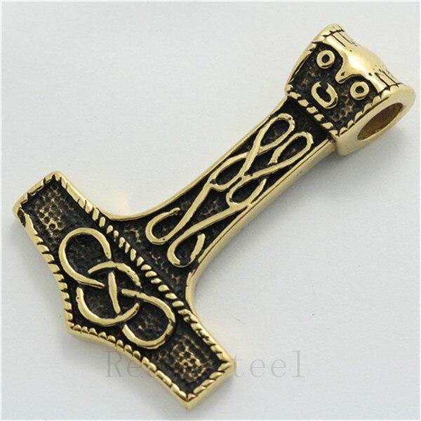 Shipping moda hombres oro de plata vikingo Thor martillo de acero inoxidable 316L colgante de collar