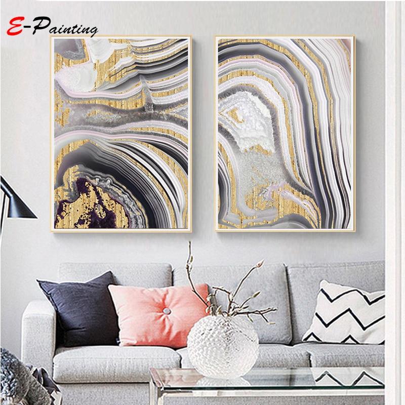 Abstrakte Leinwand Malerei Grau Wand Kunst Gold Druck Malerei