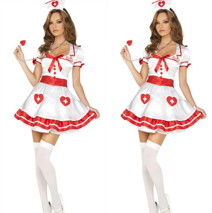 Nurse Costumes Deguisement Helloween Uniform Temptation Cute White Nurse Sexual Fluffy Dress+Hat 2PCS Set Fast Shipping T1159