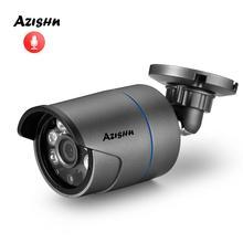"""Azishn 2mp 1080p 1/2. sony imx307 câmera de áudio ip, 8 """", metal ip67, à prova d água, câmera de segurança onvif 25m, visão noturna, p2p, rtsp, xmeye"""