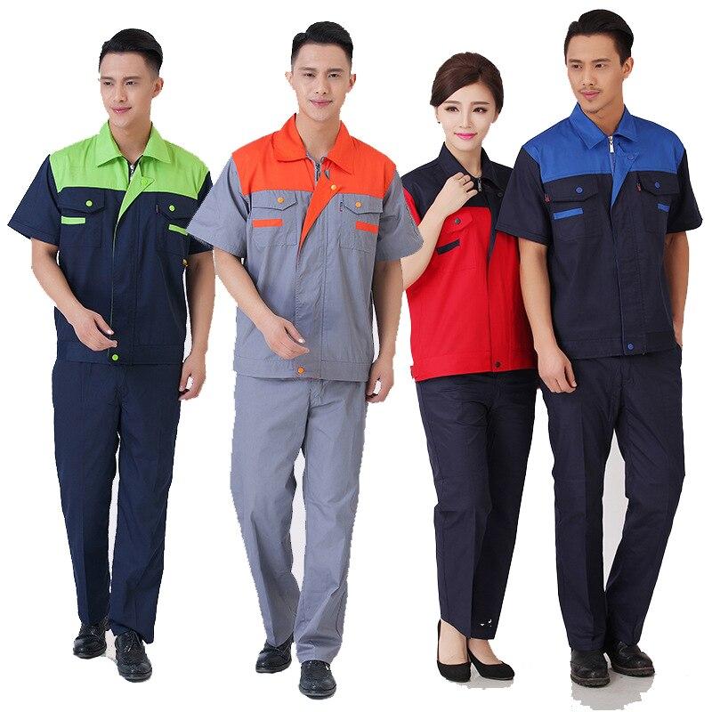 New Men Women Work Clothing Sets Workwear Suits Summer Short Sleeve Jackets Pants 2019New Factory Car