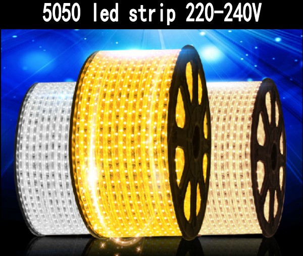 free shipping smd 5050 led strip 5m 10m 15m 20m 100m 220v 240v 60leds m waterproof flexible tape. Black Bedroom Furniture Sets. Home Design Ideas