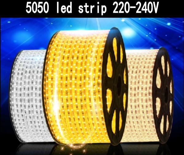 free shipping smd 5050 led strip 5m 10m 15m 20m 100m 220v 240v 60leds m waterproof flexible tape. Black Bedroom Furniture Sets. Home Design Ideas