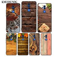 For Huawei Honor Mate 7C 7A 8 8X 9 9N 10 20 Nova 3 3e 3i  Pro Lite Black Silicon Phone Case Classical Texture wood Style