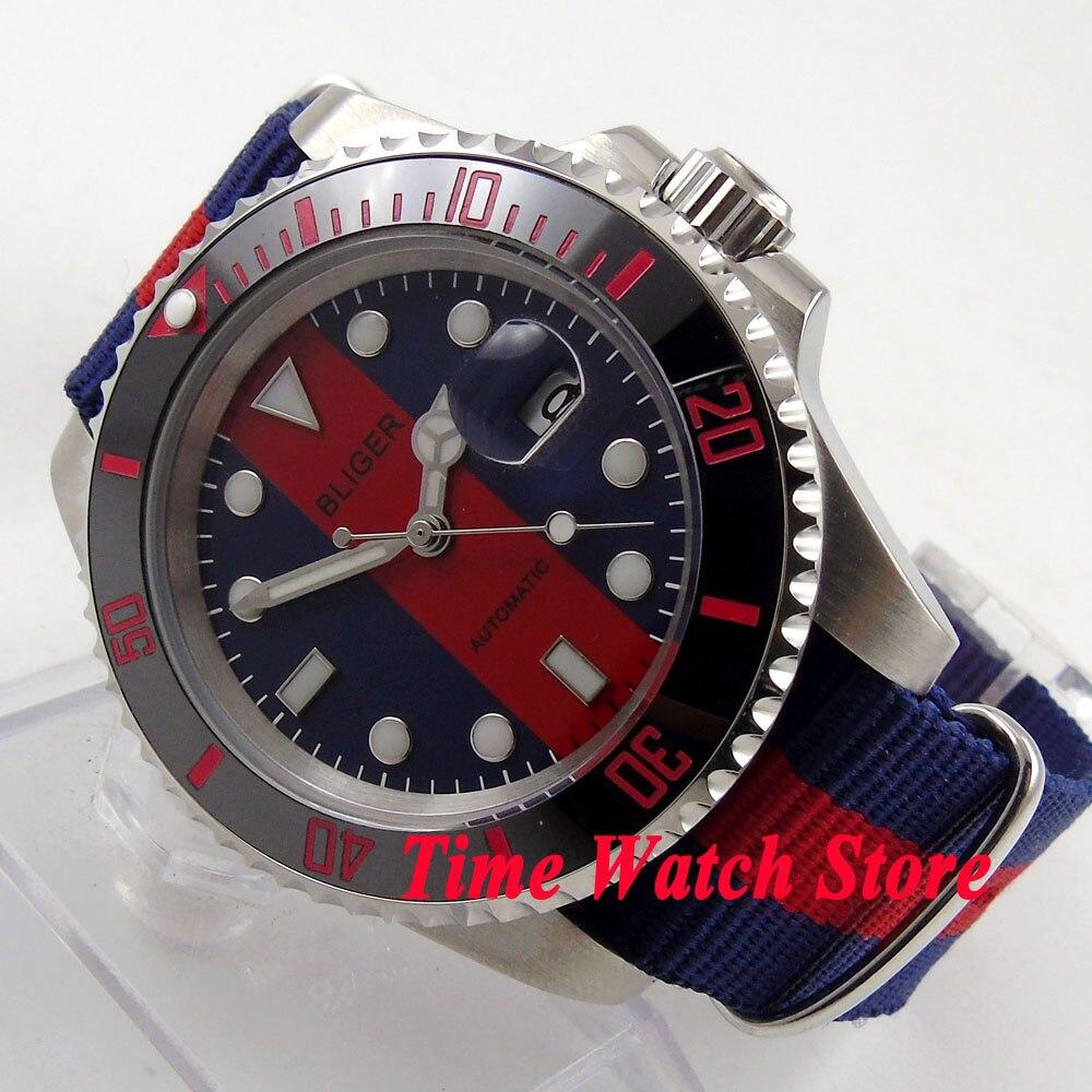 40mm Bliger Blue red dial date sapphire glass ceramic bezel Automatic watch 143 все цены