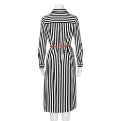 Kobiety na co dzień Sukienka w paski drukowane długie rękawy luźne przycisk bandaż pas koszulka długa Sukienka vestidos moda Sukienka 5