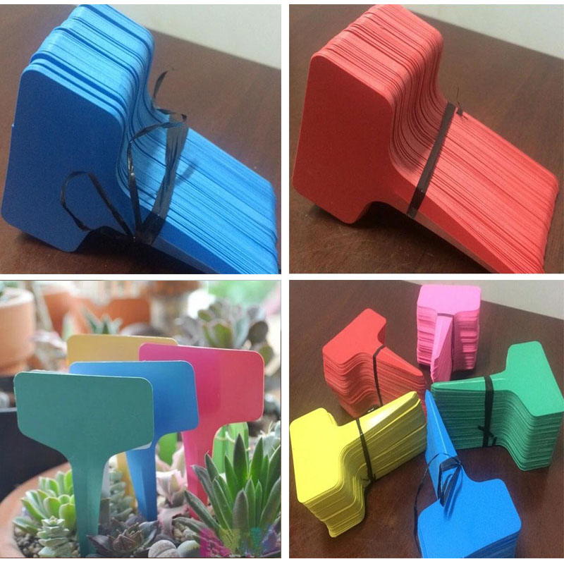 50 Pcs New Listing Gardening Label Plastic Insert Plant Labels Ground Inserting Signs Stereo Tags Floral T-labels